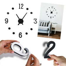 Large 3d Make It Yourself DIY Black Round Decorative Wall Clock 60cm