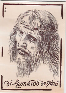 ACEO Art Sketch Card Artist Leonardo da Vinci Jesus Christ Pale Brown (ink) A