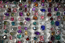 New Style Job lots 35pcs Rhinestone CZ Silver P Women Mullticolor New rings AA23