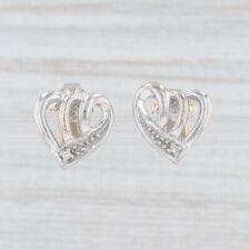 Diamante Pendientes Corazón 14k Oro Blanco Perforado Tachuelas