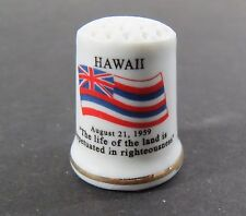 Porcelain State Flag Thimble - Hawaii - Flag, Motto, Flower, Bird