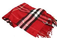 NEW Authentic Burberry The Classic Check Cashmere Scarf in Parade Red 39937421