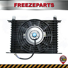 "Universal 15 Row Engine Transmission 10AN Oil Cooler + 7"" Electric Fan Kit Black"