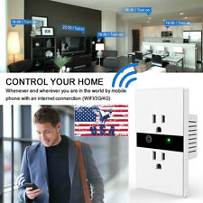 New WIFI Smart Wall Outlet Plug Wireless Remote Control Switch Dual Sockets USA