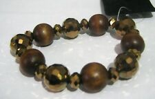 Lovely brown and bronze tone elasticated beaded bracelet plastic and wooden