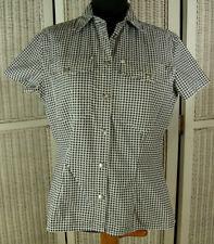 """VERSACE JEANS SIGNATURE Vintage B&W Gingham Cotton Shirt M 41"""" Medusa Head Top"""