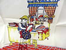 "Vintage Print Kitchen Towel FOOTBALL Woman Washing Dishes  approx 16"" x 26"""