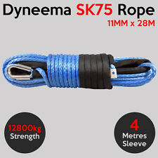 11MM X 28M Dyneema SK75 Winch Rope Synthetic Car Tow Recovery Offroad Cable 4X4