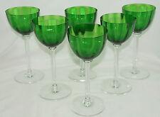 """Montaigne Baccarat (6) Emerald Green Rhine Wine Glasses, 7 3/8"""""""