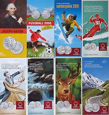 8 St. Flyer/Folder 5 EURO Silber/Cu Gedenkmünzen Austria Österreich 2008-2013