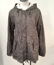 Obey Women's Windbreaker Jacket Everette Army Green Size S NWT Leopard Print