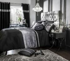 Samt Diamant gebändert Schwarz Silber einzeln Baumwollgemisch wendbar Bettbezug