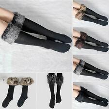 Womens Winter Socks Boot Furry Cuff Leg Warmers Faux Fur Fleece Fluffy Stocking