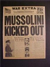 VINTAGE NEWSPAPER HEADLINE ~WORLD WAR 2 NAZI ARMY MUSSOLINI AXIS OUT ITALY WWII