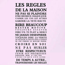 """Fashion """"House rules"""" of French version quote waterproof wall sticker Home Decor"""