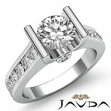 2ct Round Diamond Channel Set Engagement Ring GIA Certified F VS1 14k White Gold