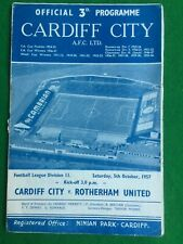 Football programme Cardiff v Rotherham 5th October 1957