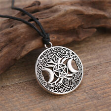 Wicca Triple Moon Goddess Pentacle Tree of Life Seal Amulet Pendant Necklace