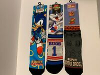 Bioworld Novelty Crew Sock Sets Sonic the Hedgehog, Bugs Bunny, Super Mario Bros