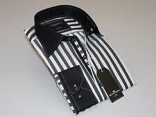 Men makrom London Shirt Cotton Blend Stripe Two tone Turkey 5418-2-412 Black NEW