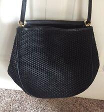 Bottega Veneta Black Braided Texture Canvas Large Purse Handbag Leather Handles