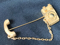 "Vintage Avon Telephone Lapel Stick Pin Gold Tone 1981, 1 34"" x 5/8"" Avon Jewelry"