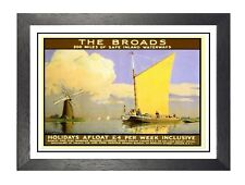 Norfolk Broads 4 British Railway Travel Advert Old Vintage Retro Picture Poster