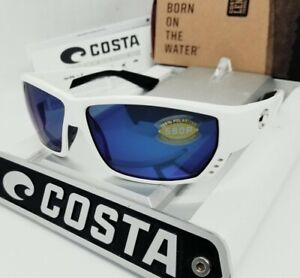 "COSTA DEL MAR white/blue mirror ""TUNA ALLEY"" POLARIZED 580P sunglasses! NEW!"