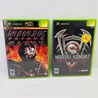 2 Game Lot-Ninja Gaiden Black & Mortal Kombat,Deadly Alliance-CIB, Xbox Tested