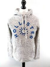 HOLLISTER Mens Hoodie Jumper S Small Grey Cotton & Polyester