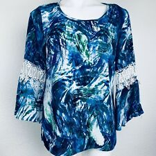 New Directions Blue Multi Bell Sleeves Women Blouse. Size S. NWOT