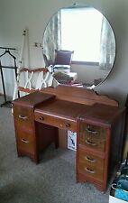 024 Vintage Mirror Vanity Dresser Waterfall Style 1940s?