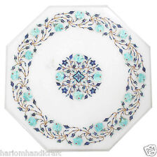 """18"""" White Marble Side Coffee Table Top Turquoise Inlay Mosaic Outdoor Arts H1803"""