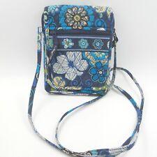 "Vera Bradley Mini Hipster Mod Floral Blue Quilted CrossBody Purse 8"" x 6"" Crisp"