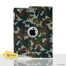 Green Camouflage PU Leather Flip Case/Cover for Apple iPad 2/3/4 / 360 Rotating