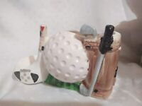 VTG Golf Ball Bag Vase Planter Rubens Original Japan Ceramic Desk Organizer R409