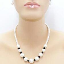 Parure de perles, Collier, boucles d'oreilles, noire, blanche, bijoux fantaisie