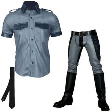 Men's High Quality Leather Gay Suit Black & Grey Contrast Pant With Qualted Pant