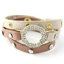 NEW Rhinestone Studded Tan Faux Leather Pave Circle Wrap Bracelet in Goldtone