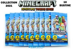 PANINI MINECRAF ADVENTURE TRADING CARDS COLLECTION LOTTO 10 BUSTINE DI CARD 2021
