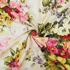"""Beige Cotton Voile Fabric Floral Print 44"""" Sewing Apparel Dress Pillow Cover"""