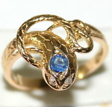 ANTIQUE 18K GOLD FRENCH VICTORIAN SAPPHIRE DIAMOND SNAKE SERPENT GOOD LUCK RING