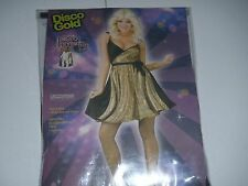 Sexy Black and Gold Disco Diva Saturday Night Fever Halloween Costume Size 14-16