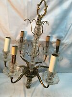 Vintage Mid Century 6 Arm Glass Chandelier Hanging Lamp Parts Repair Lot