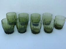 9 Anchor Hocking Central Park Ivy Green Double Old Fashioned Glasses