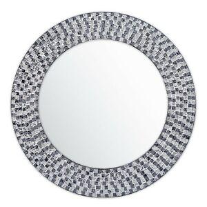 "20"" Onyx Black And Silver Topaz Jewel Tone Handmade Round Wall Mirror"
