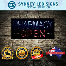 Animated LED NEON Motion Flash Open Business Sign PHARMACY OPEN: 60CM X 30CM