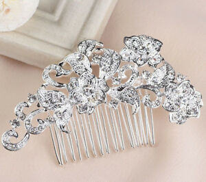 Wedding hair Accessories Crystal Silver Hair Comb Flower Clip Pin Bridal Bride