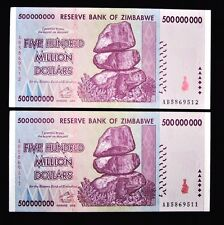 2 x Zimbabwe 500 million Dollars-Aunc collectible currency/2008/AB