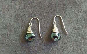 Onyx gold filled drop dangle earrings